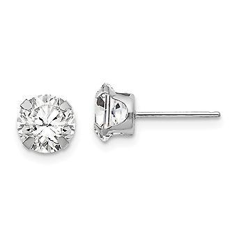 14k wit goud gepolijst Snap instelling 6,5 mm CZ kubieke Zirconia gesimuleerde diamond post oorbellen meet 6,5x6,5 mm sieraden