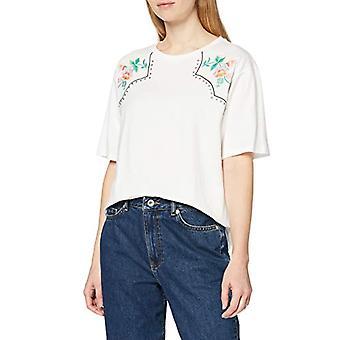 Amazon brand - find. Women's Crew neck T-shirt, White, 42, Label: S(2)