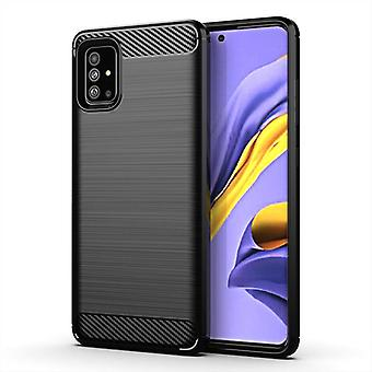Tpu carbon fibre case for samsung a51 5g uw black mfkj-651