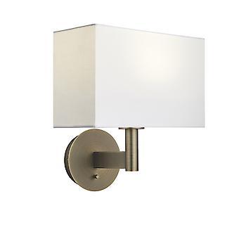 Wandlamp antieke bronzen plaat, vintage witte stof rechthoekige schaduw