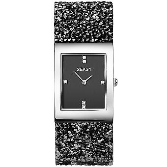Seksy 2573 Rocks Stone Set Bracelet Black Ladies Watch