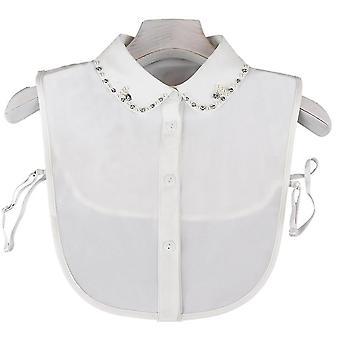 אנטי קמט חצי חולצות רקמה צווארון שווא ריינסטון פרל להסרה חולצה