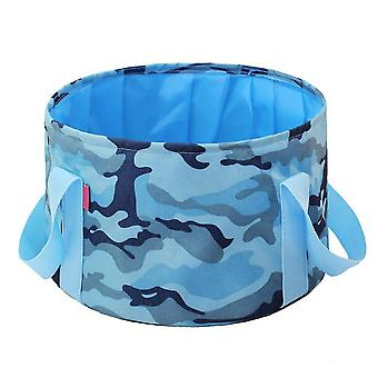 Camouflage blue 14l oxford cloth 14l portable folding basin outdoor camping portable bucket homi4358