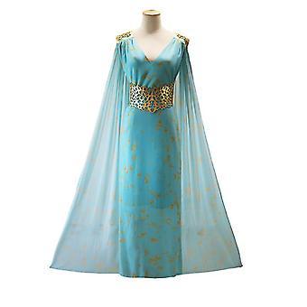 שמלת Qarth נשים מלכת הדרקון חאליסי ליל כל הקדושים תלבושות שיפון כחול(XL)