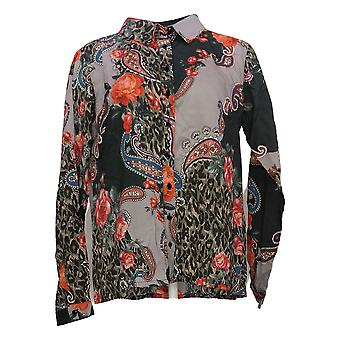 Tolani Collection Women's Top Reg Button Front Printed Green A389942