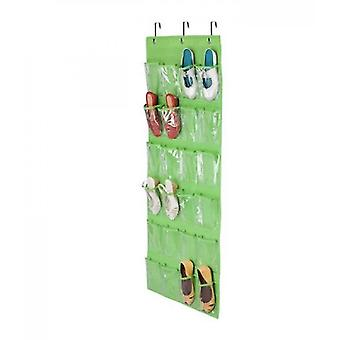 24 Pockets,crystal Clear Over The Door Hanging Shoe Organizer(Green)