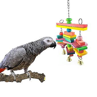 Parrot Chew Bite Toy Natural Wood With Bell