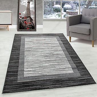 Alfombra de la sala de estar Alfombra de pila corta Patrón moderno con borde Flor Gris suave
