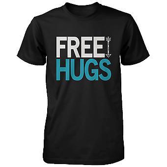 Darmowe uściski Holiday graficzny Tees - czarny bawełniany T-shirt