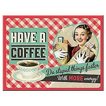 Ta en kaffe - Fräck nostalgisk metalmagnet - Cracker Filler Gift