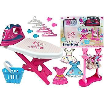 Spielzeug bügeleisen und Bügelbrett - Pink - mit Kleiderbügeln
