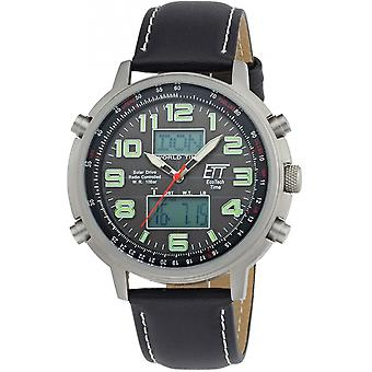 ONE (Eco Tech Time) Black Genuine Leather EGS-11301-22L Men's Watch