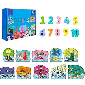 Jigsaw puzzles kid's learning wooden puzzle numerdals alphabet education toy set number
