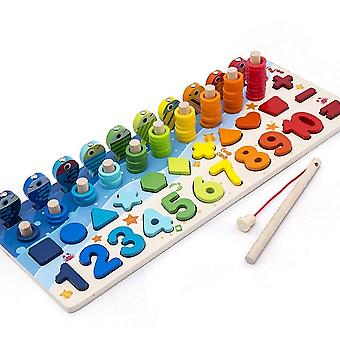 Interlocking blocks wooden magnetic puzzles for toddler shape number sorting fishing game toys|math toys