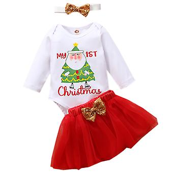 Christmas Baby Girls Outfit Clothes Romper Top Tutu Skirt Headband Set