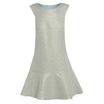 فستان جاكار النعناع مع هيم Peplum حجم المملكة المتحدة 10