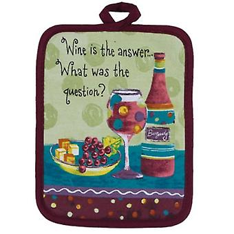 Kay Dee Wine is the Answer Vino Grapes Kitchen Oven Potholder