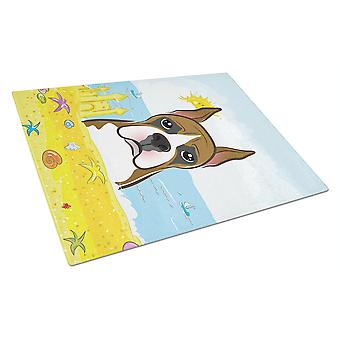Carolines Treasures  BB2091LCB Boxer Summer Beach Glass Cutting Board Large