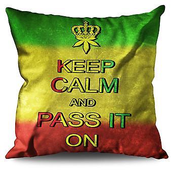 Keep Calm Weed Pot Rasta Linen Cushion 30cm x 30cm | Wellcoda
