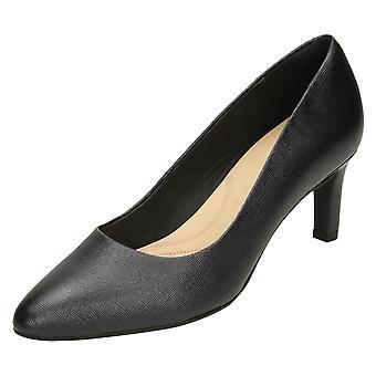 Ladies Clarks Textured Court Shoes Calla Rose - Black Leather - UK Size 4E - EU Size 37 - US Size 6.5W