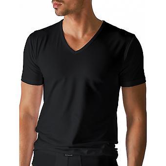 Mey 46007-123 mannen droge katoenen Top korte mouw zwart effen kleur