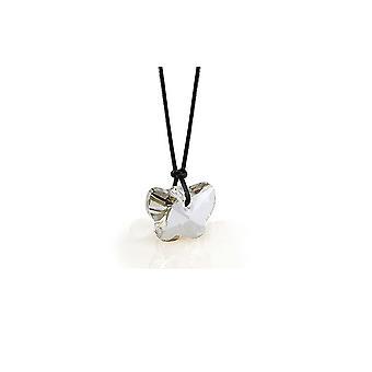 Butterfly halssmykke utsmykket med Swarovski hvit krystall