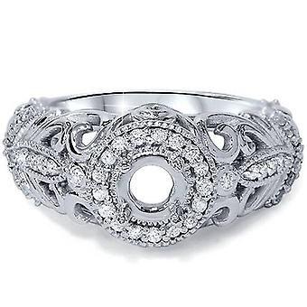 3/8ct Vintage Diamond Engagement Ring 14K White Gold