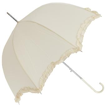 Womens/Ladies White Wedding Umbrella With Frill Trim