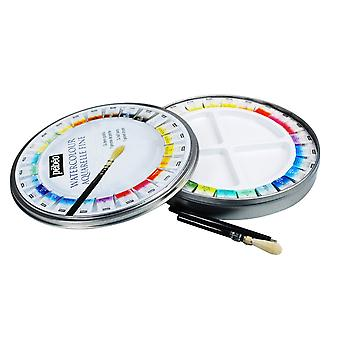 Pebeo Aquarelle Fine Watercolour 24 Half Pan Round Travel Tin