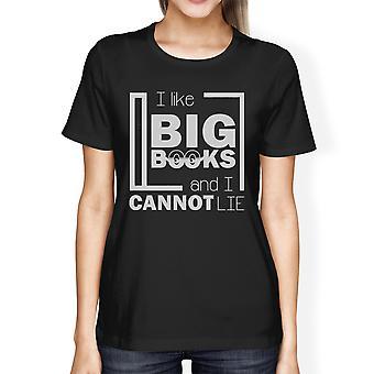 I Like Big Books Womens Black Cotton Crewneck Tshirt For Teen Girls