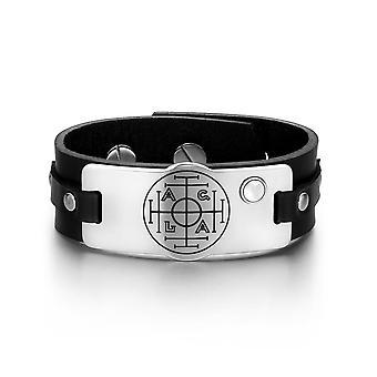 Fortune Wealth Erfolg magischen Zirkel Amulett weiß simuliert Katzen Auge schwarzes Lederarmband