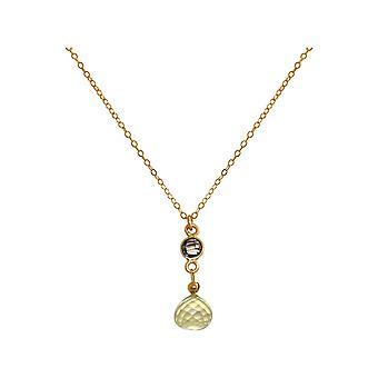 GEMSHINE halskæde røget kvarts og citron kvarts vedhæng guldbelagt på 45 cm kæde.