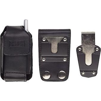 5 Pack -Soluciones inalámbricas Bolsa de cuero de fuerza industrial con bucle de cinturón para Motorola iDEN i455, i855, i835 - Negro