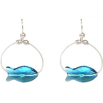 Damen Ohrringe 925 Silber Fisch Blau MADE WITH SWAROVSKI ELEMENTS® 3 cm