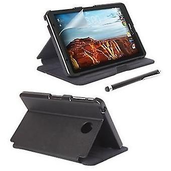 Verizon Folio Case, Screen protector and Stylus bundle for Ellipsis 8, Ellipsis Kids Tablet - Black