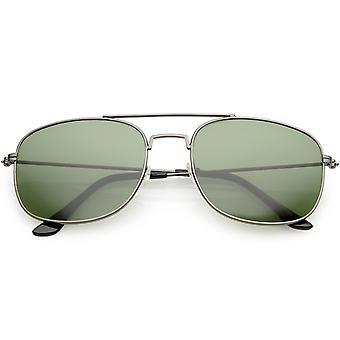 Lentille de verre de lunettes de soleil Square Classic Metal Aviator 56mm