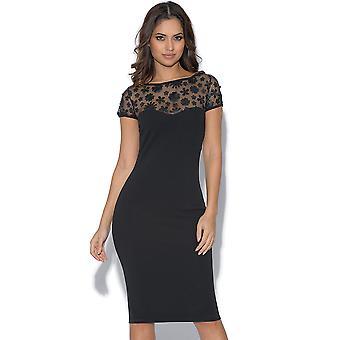 Floral Applique Short Sleeved Midi Dress