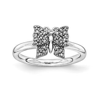 2.25mm 925 Sterling Silver Rhodium-plated Ruthenium plating and Balck-plated Stackable Expressions Diamond Butterfly Rin