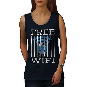Conexión WiFi carcel de mujeres NavyTank Top | Wellcoda
