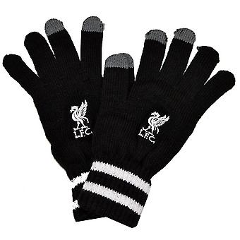 Liverpool FC Official Adults Unisex Knitted Stripe Cuff Gloves