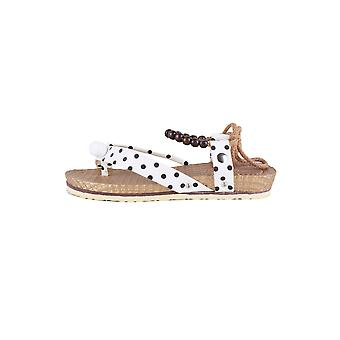 Lovemystyle White Polka Dot Flat Sandal With Bead Detail