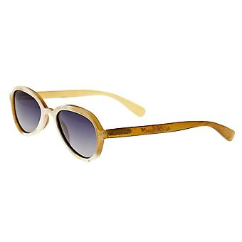 Bertha Alexa Buffalo-Horn Polarized Sunglasses - Cream-Black/Black