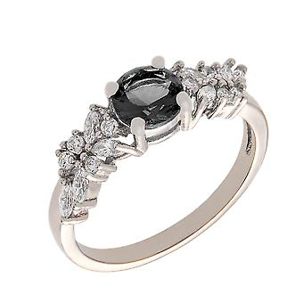 Bertha Juliet Collection Women's 18k White Gold Plated Black Cluster Fashion Ring Size 7
