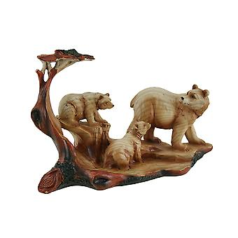 Mother Bear and Cubs Carved Wood Look Resin Statue