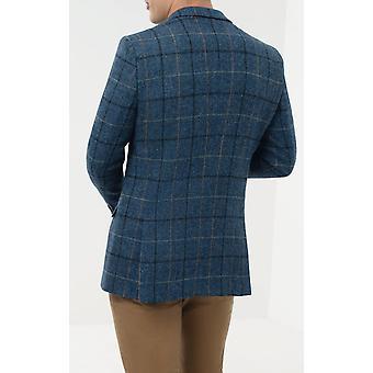 Scottish Harris Tweed Mens Blue/Black Check Tweed Jacket Regular Fit 100% Wool