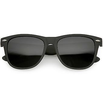 Classic Matte Horn Rimmed Sunglasses Wide Arms Super Dark Square Lens 54mm