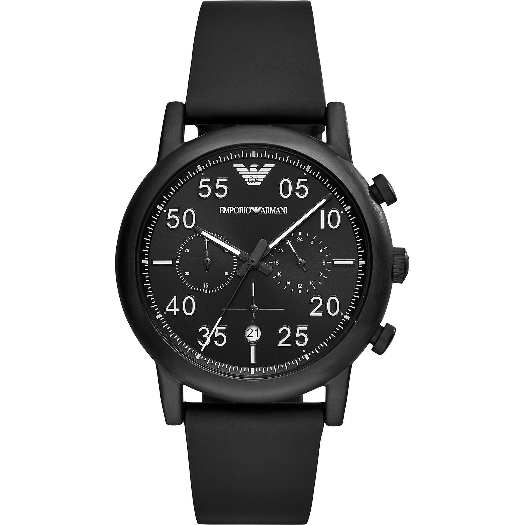 Emporio Armani Mens Gents Black Face Wrist Watch AR11133