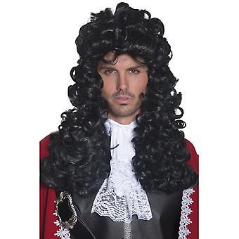 Pirat peruk svart lockig peruk av kapten Caribbean barock