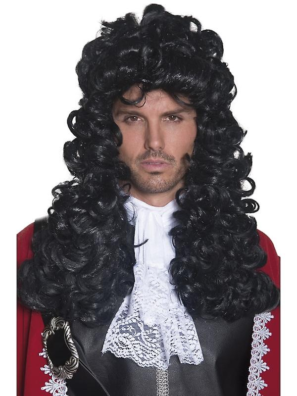 Pirat parykk svart krøllete parykk kaptein Caribbean barokken