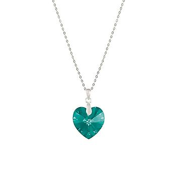 Eternal Collection Amour Blue Zircon Austrian Crystal Heart Sterling Silver Pendant